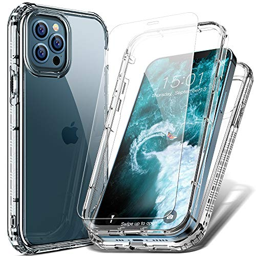 FLOVEME Case Compatible with iPhone 12 Pro iPhone 12 Case with Screen Protector (2 Pack) 6.1inch 5G 2 in 1 Shockproof Protection Phone Cases for iPhone 12 Pro iPhone 12 Cover