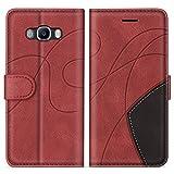 SUMIXON Hülle für Galaxy J5 2016, PU Leder Brieftasche Schutzhülle für Samsung Galaxy J5 2016, Kratzfestes Handyhülle mit Kartenfächern & Standfunktion, Rot