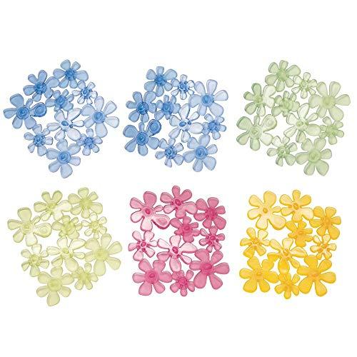 mDesign Tappeto Doccia in plastica - Tappetino con Ventose - Tappeto Antiscivolo Impermeabile - Tappeto Puzzle a Forma di Fiore - 6 Pezzi - colorazioni Diverse