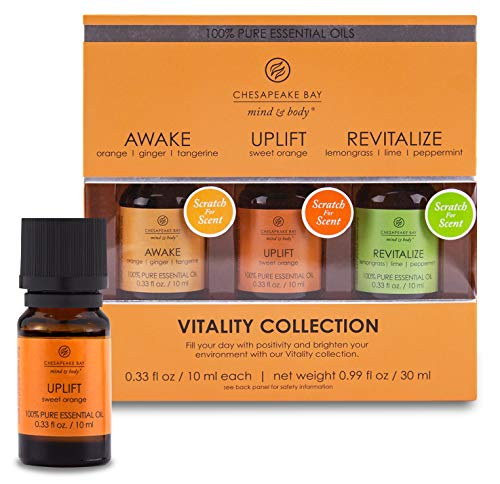 Chesapeake Bay Candle 100% Pure Essential Diffuser Oils Vitality Set (Awake, Uplift, Revitalize) (3-Pack)
