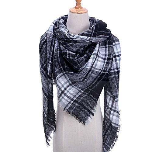 Sjaal, Plaid Donker Grijs Warm Winter Eenvoudige Women'S Sjaals Driehoekige Cashmere Mode Sjaals Wraps Sjaal Persoonlijkheid Trend Vrouwen