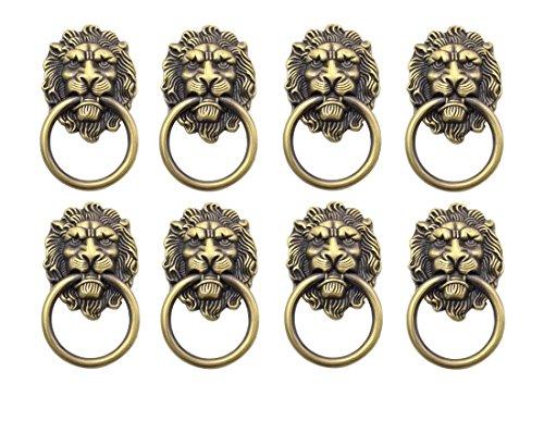 Ycnk Lot de 8boutons de poignées de porte placard tiroir en métal Pull Bague antique Lions Head Couleur bronze