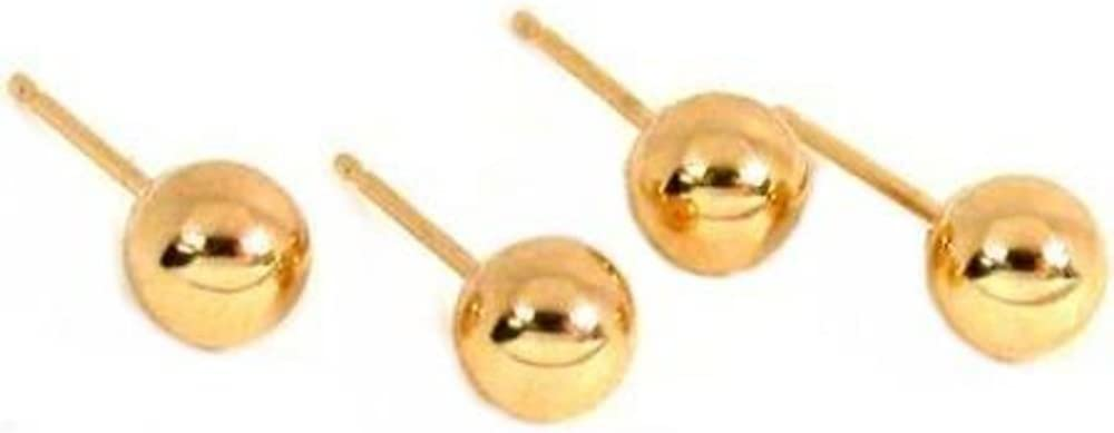 4 14K Yellow Gold Ball Earrings Studs Posts Piercing