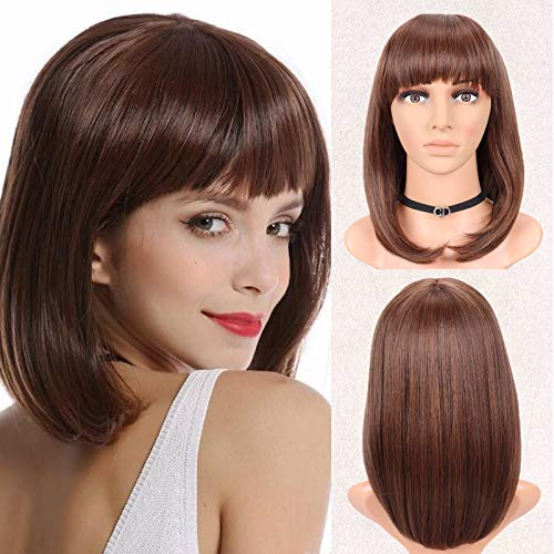 Gowit Bob Hair Wigs 14' Straight Hair Shoulder Length Women Wigs with Bangs Light Brown Synthetic Bob Hair Wigs with Adjustable Straps for Cosplay Party(L.Brown)