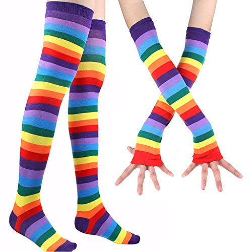 Women Rainbow Striped Thigh High Long Socks Arm Warmers Fingerless Gloves Set,Fashion Stocking Accessory For Home Daily