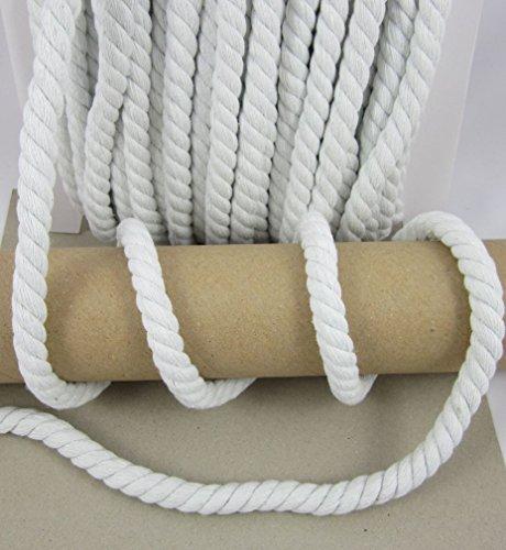 Baumwollkordel 15mm, gedrehte Kordel Meterware, 1meter, nähen (weiß)