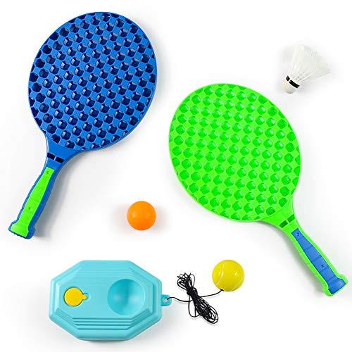 Fajiabao Raquetas de Tenis Raqueta Badminton Niños Set Palas Ping Pong 3 en 1 Raquetas Playa Juego de Bádminton para Niños Regalos para Niño Niña 3 4 5 6 Años