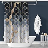 Orumrud Duschvorhang Duschvorhänge Modern Geometriemuster Anti-Schimmel Waschbar Textil-Vorhang für Freien/Motels/Hotels/Schlafsäle & mehr Duschvorhangringen