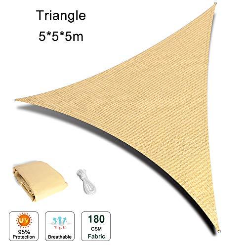 Chihee Sonnensegel UV-Block 5X 5 x 5m Dreieck Sonnenschutz Überdachung 180GSM HDPE Anti-Schimmel Sonnencreme Markise mit 2m Kostenlosem Seil für Gartenterrasse Pool Grillbereiche im Freien