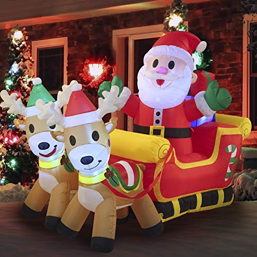 Joiedomi 6 Ft Wide Christmas Inflatable Santa Claus with Build-in LEDs Blow Up on Fancy Sleigh Cute for Christmas Party Indoor, Outdoor, Yard, Garden, Holiday Season Décor, Lawn Decorations
