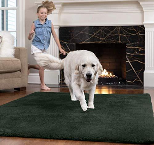 Gorilla Grip Original Ultra Soft Area Rug, 3x5 FT, Many Colors, Luxury Shag Carpets, Fluffy Indoor Washable Rugs for Kids Bedrooms, Plush Home Decor, Living Room Floor, Nursery, Bedroom, Hunter Green