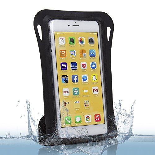 Satechi GoMate Funda para Smarthone Impermeable de Sellado Fácil para Apple iPhone 6/5S/5C, Samsung Galaxy S5/S4/Note 4/3/2, Nexus 6/5, Moto X/G, LG G3, HTC One y muchos más – Certificación IPX8 hasta 6 metros (IPX8 Negro)