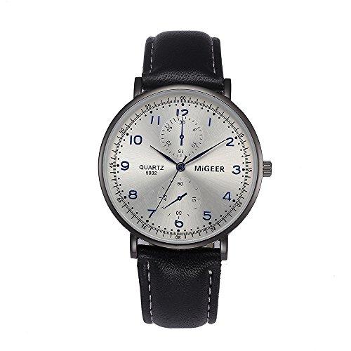 Challeng Herren Armbanduhr mit schwarzem Lederarmband & Blauem Mineralglas Analoge Quarz Armbanduhr für Studenten Damenuhren