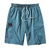 Pantalones Cortos Tipo Cargo de salón para Hombre Pantalones Que no Dan pie a la Piel Pantalones de Cinco Puntos Sueltos con cordón de Verano Monos de Playa