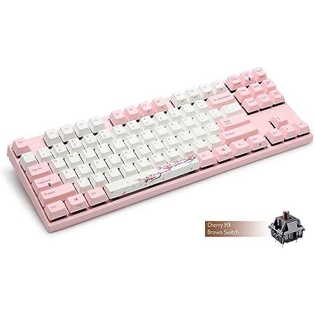 Varmilo Gaming 87 teclas Cherry Brown Mx Interruptores Sakura Blanco Teclas y Rosa Teclas Tinte Sublimación Impresión Rosa Luces LED Teclado Mecánico ...