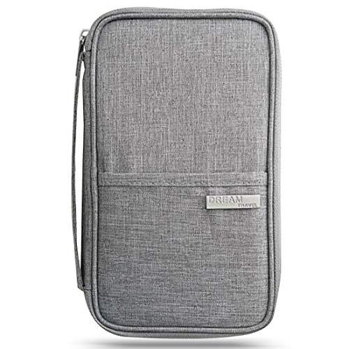 Carteras para Pasaporte - YUESEN Portamonedas y Organizador de Pasaportes de Viaje Portátil con Bloqueo RFID para Pasaportes, Boletos de Avión Accesorios de Viaje (Gris)