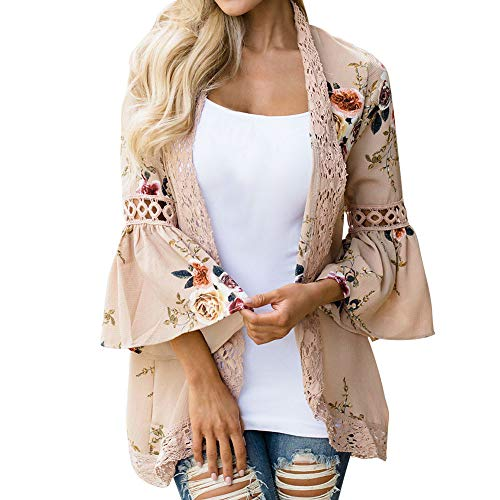 Lazzboy Women Cover-up Kimono Boho Ethnic Floral Printed Sunscreen Flare 3/4 Sleeve Lace Chiffon Plus Size Oversized(S(10),Peach-Flare Sleeve