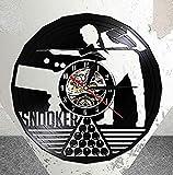 mbbvv Reloj de Pared de Vinilo, Figura de Jugador de Billar Internacional, Reloj de Pared de 12 Registros, Juego de Billar, Reloj de Arte Cortado con láser