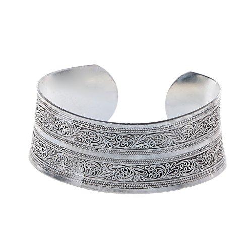 SimpleLife Vintage Tibet Silber Geschnitzte Breite Manschette Armreifen Armbänder Gypsy Ethnic Lucky Totem Blume Alten Bangle Schmuck Unisex