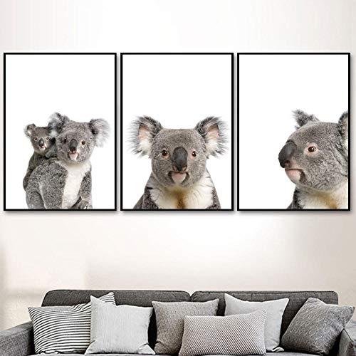 HNZKly Niedliche Koala Tierbabys Familie Wand Bilder Leinwand GemäLde Skandinavische Poster Und Kunstdrucke Kinderzimmer Wandbilder FüR Kinderzimmer Home Decor40x50 Cmx3 / Unframedd