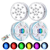 Chakev Submersible Led Pool Lights, 16 Colors Underwater Pond Lights with Remote, Waterproof Magnetic Bathtub Light with Suction Cup Hot Tub Light for Pond Fountain Aquariums Vase Garden Party 4 Pack