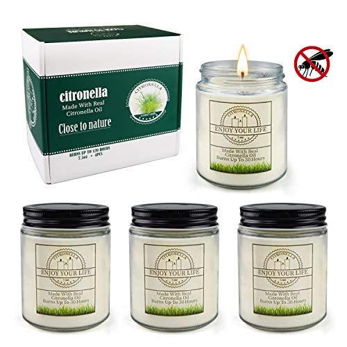 Citronella Candles Outdoor Large Scented Jar Candles Set Aromatherapy Long Lasting Essential Oil Soy Wax for Home Garden Patio Balcony 7.5oz 4Pack