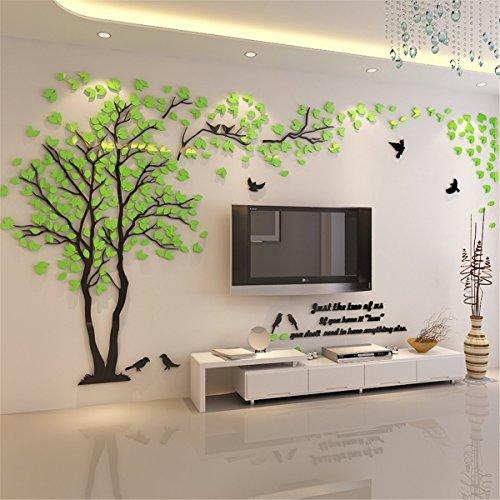 Kenmont DIY 3D Riesig Paar Baum Wandtattoos Wandaufkleber Kristall Acryl Wandtattoo Aufkleber Vögel Vine Zweig Wandkunst Wohnzimmer Schlafzimmer Kinderzimmer Sticker (Small, Grün, Recht)