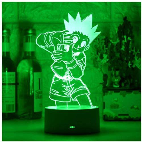 Luz de noche ilusión 3D luz de humor para niños control remoto de 7 colores y luz de regalo de vacaciones con botón táctil - Lively boy