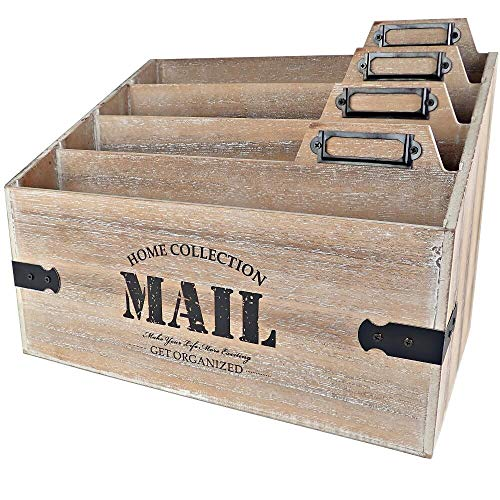 25DOL - Mail Organizer Desktop Mail Holder - Wooden Desk Organizer, File Holder and Mail Sorter - 7 x 10.8 Inch Letter Sorter - Rustic Desk Organizers and Accessories, File Folder and Mail Tray