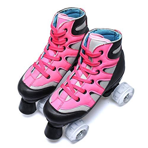 Dytxe Klassische Zweireihige Rollschuhe Skates Kinder Mit Starkem, Haltbarem Chassis Rollschuhe Outdoor/Indoor,Rosa,44
