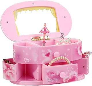 Sohapy Girl's Musical Jewelry Box with Ballerina Mirror 3 Pullout Drawers Pink