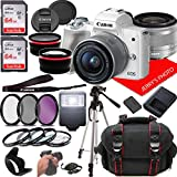 Canon EOS M50 (White) Mirrorless Camera Kit w/EF-M15-45mm and 4K Video + Case + 128GB Memory (25pc Bundle)