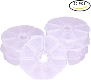 Pandahall Elite 20 Sets 8 Compartments Round Resin Storage Box Bead Organizer Display Containers, 105x105x28mm