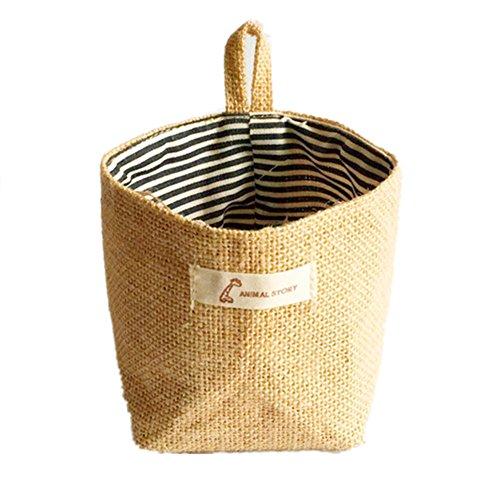 LifenewBaby Panier de rangement rond à suspendre en toile de jute et lin 12,5 cm x 14 cm