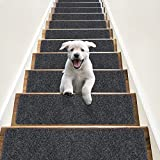 """RIOLAND Non-Slip Stair Treads Carpet Indoor 14 Pack Stair Rugs for Wooden Steps Anti Moving Stair Runners Safety for Dogs Elders and Kids, 8"""" x 30"""", Dark Grey"""