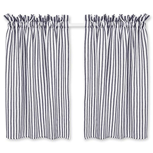 Cackleberry Home Navy Blue and White Ticking Stripe Cafe Curtains 28 Inches W x 36 Inches L Woven Cotton, Set of 2