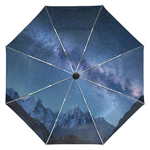 Trushop Automatischer Regenschirm Milky Way Galaxy Umbrella Automatic Open Close Mountains Star Windproof Compact Anti-UV Travel Umbrella Lightweight Parasol Umbrellas Sun & Rain