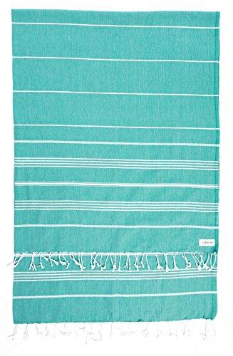 Bersuse 100% Algodón - Anatolia XXL Manta Toalla Turca - Multiusos Colcha de Cama, Funda de Sofa - Fouta para Baño y Playa - Oeko-Tex - 155 x 210 cm, Verde Azulado (Conjunto de 3)
