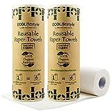 2 Rotoloni Asciugatutto Riutilizzabili in Bambù - 40 Fogli Multiuso - Alternativa Eco Friendly a Strofinacci Canovacci Stracci Tovaglioli Fazzoletti di Carta da Cucina - Rotolo Lavabile e Zero Waste