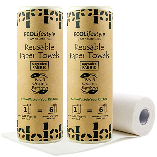 2 rollos de papel de bambú reutilizables – 40 hojas multiusos – Alternativa ecológica a paños de cocina – Rollo lavable y cero Waste