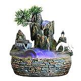 Fuente Interior Fuente escritorio fuente decoración mini cascada con cambio de color de los regalos de iluminación meditación cascada molino de piedra y negro de caballos for la decoración casera Fuen