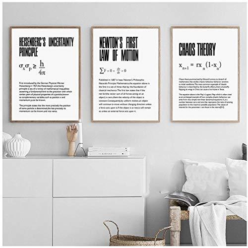DLFALG Póster de arte nórdico, dilatación del tiempo, física, ciencia, cita, lienzo, pintura, cuadros de pared para sala de estar, oficina, clase, decoración del hogar-40x60cmx3 sin marco