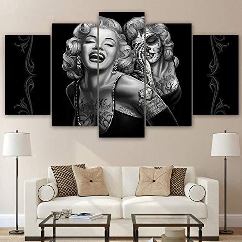 ZDDBD Cuadros de Arte de Pared de Lienzo decoración del hogar 5 Piezas Marilyn Monroe Pinturas de Calavera de azúcar Modular HD Impresiones Cartel Sala de Estar