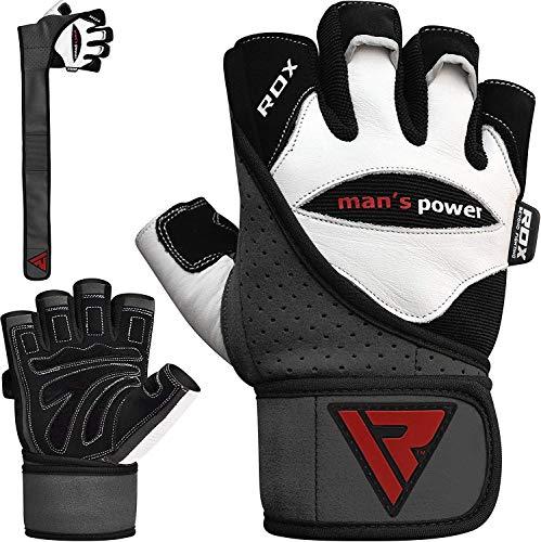 RDX Fitness Handschuhe Trainingshandschuhe Handgelenkschutz Sporthandschuhe Gewichtheben Rindsleder workout krafttraining Bodybuilding Gym Gloves (MEHRWEG)