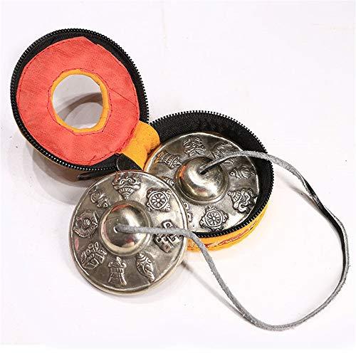 Tingsha tibetische Glocke Handgemachte tibetische Tingsha, Space Clearing, Meditation Mithilfe, einzigartige und einzigartige Geschenkideen (Color : Tingsha+Storage case, Size : 6.5X6.5cm)