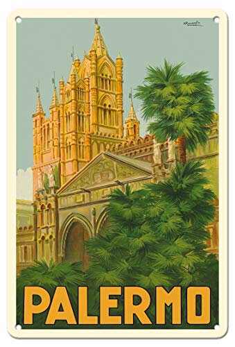 Pacifica Island Art Palermo, Sicily, Italy - Duomo (Cathedral) - Vintage World Travel Poster by Attilio Ravaglia c.1930s - 8in x 12in Vintage Tin Sign