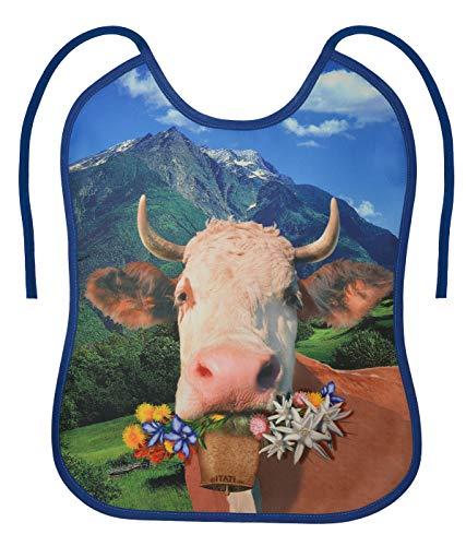 Geile-Fun-T-Shirts Erwachsenen Lätzchen - Alpen-Kuh - Bayern Sabberlatz lustiges Männer Geschenk-Set mit Spassvogel-Urkunde zum Vatertag