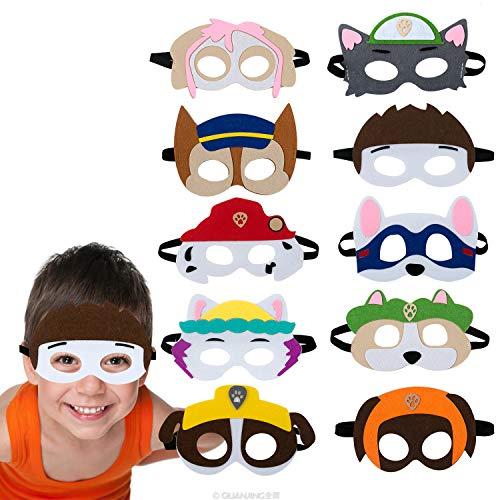 10 pcs Máscaras Animales para Niños Sentían,Juguetes para Perros Pata de Patrulla,Máscaras Partido Perrito,Máscaras Animales Perro los niños Cosplay,Máscaras Cumpleaños Halloween Animales Carnaval.