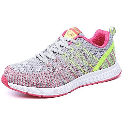 PAMRAY Damen Fitness Laufschuhe Sportschuhe Schnüren Running Sneaker Netz Gym Schuhe Grau-Gelb 37