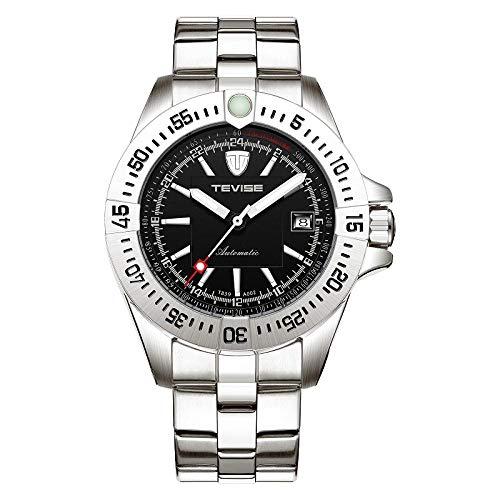 Relojes Nuevos Hombres Reloj Automático Reloj Mecánico Calendario Luminoso Manos Impermeable Reloj Masculino Reloj De Negocios @ Plata Negro